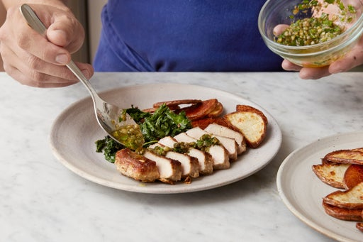 Slice the pork chops & plate your dish:
