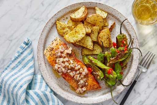 Salmon & Shallot-Dijon Vinaigrette with Roasted Potatoes & Charred Shishito Peppers