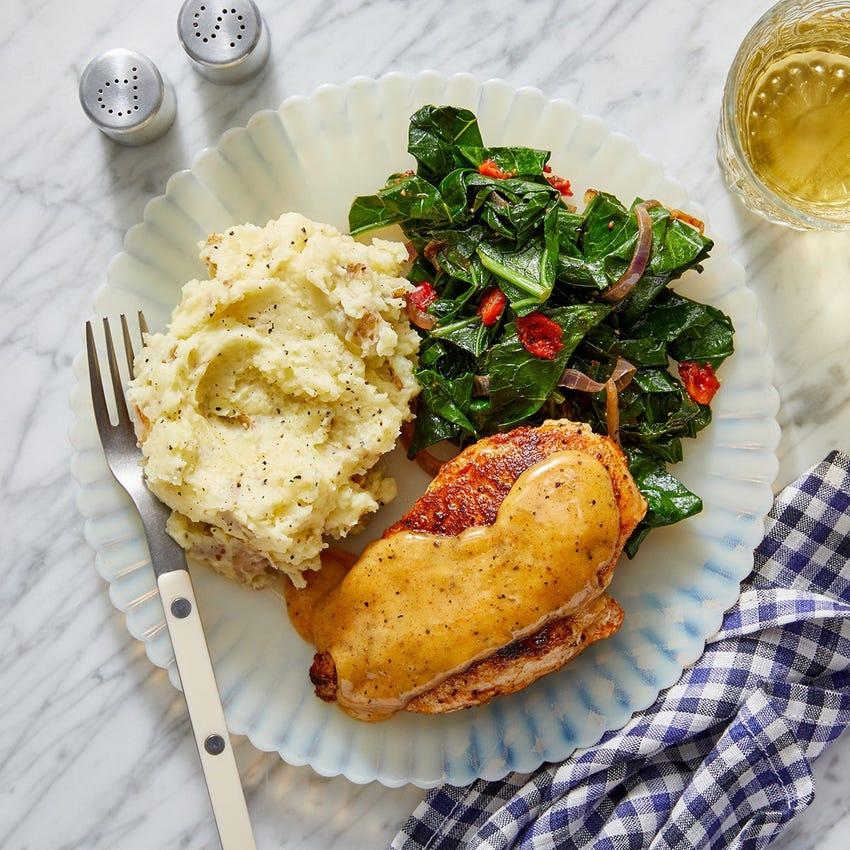 Spanish-Style Chicken & Aioli with Mashed Potatoes & Sautéed Greens