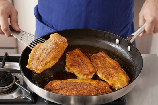 Coat & cook the catfish:
