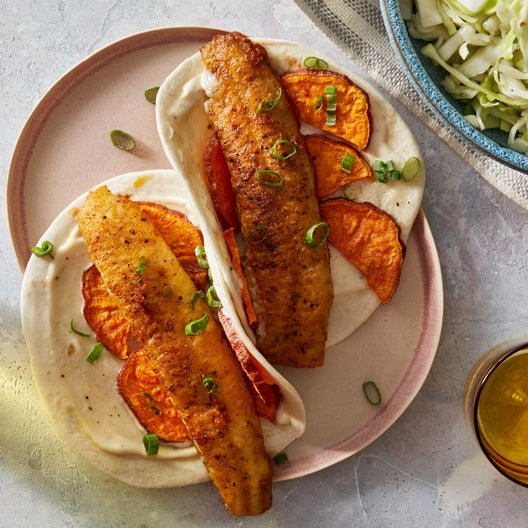 Spiced Fish Tacos with Roasted Sweet Potatoes & Coleslaw