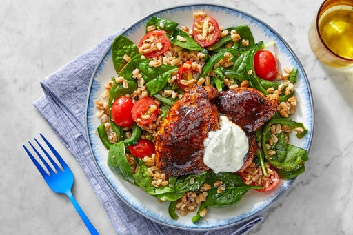 Honey & Chipotle-Glazed Chicken Thighs with Vegetable Farro & Lime Sour Cream