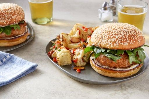 Smoky Pork Burgers with Roasted Cauliflower & Potato Salad