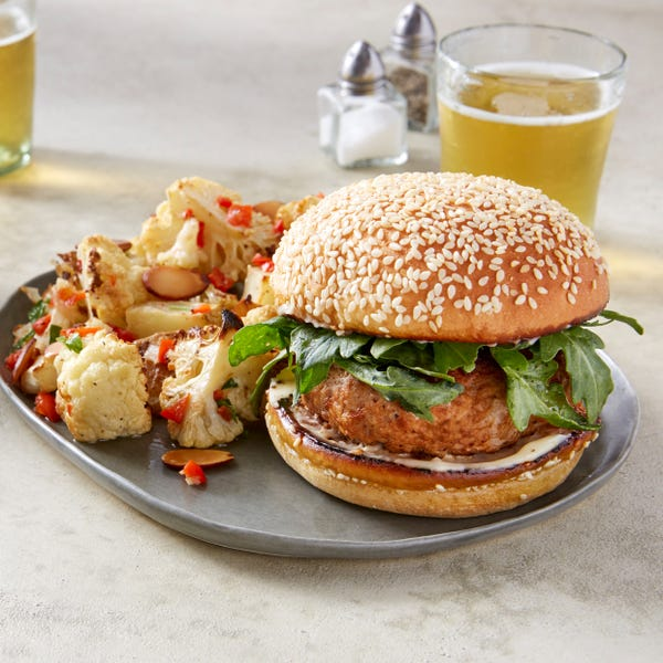 Smoky Pork Burgers with Roasted Cauliflower & Potato Salad