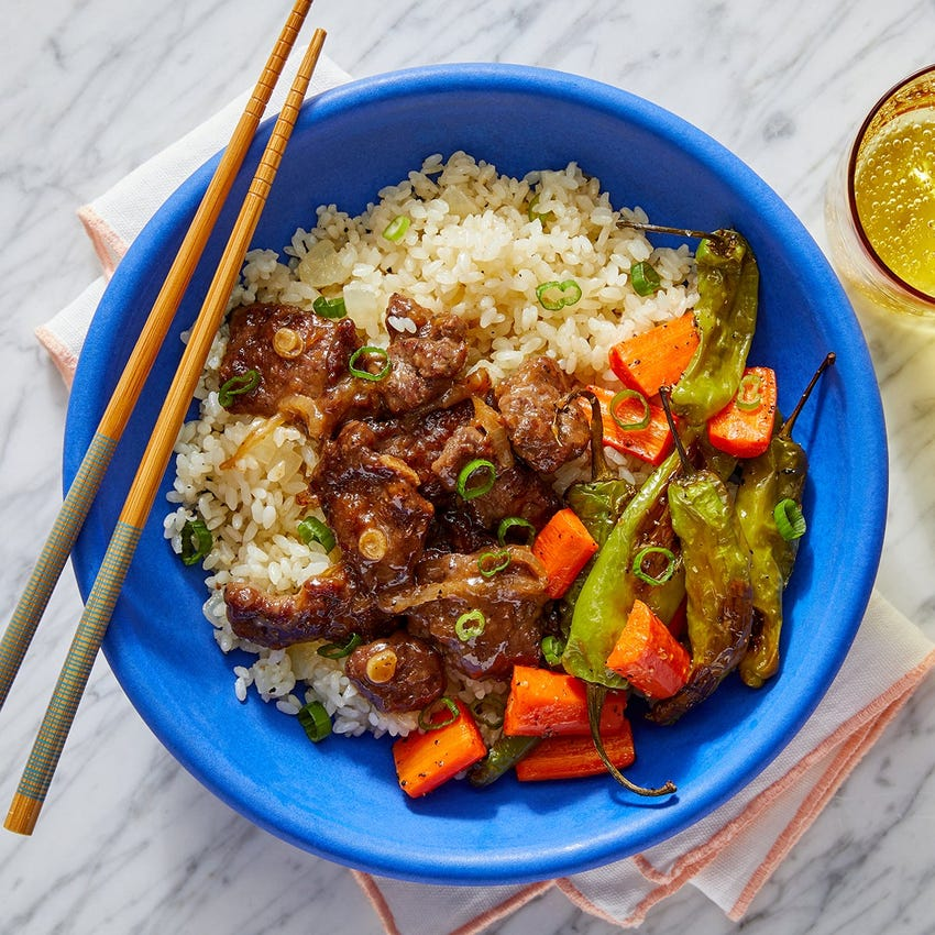 Japanese Beef & Rice  Bowl with Roasted Shishito Peppers & Carrots