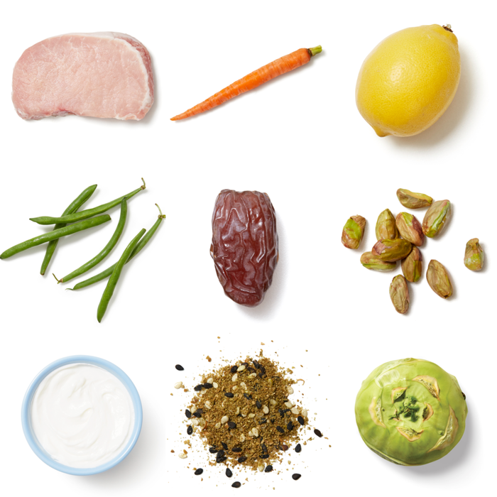 Grilled Dukkah-Spiced Pork Chops with Green Beans, Kohlrabi & Lemon Yogurt