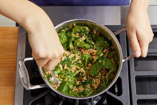 Make the spinach quinoa