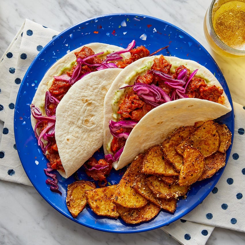 Zesty Pork Chorizo Tacos with Lime Mayo & Garlic-Cotija Potatoes