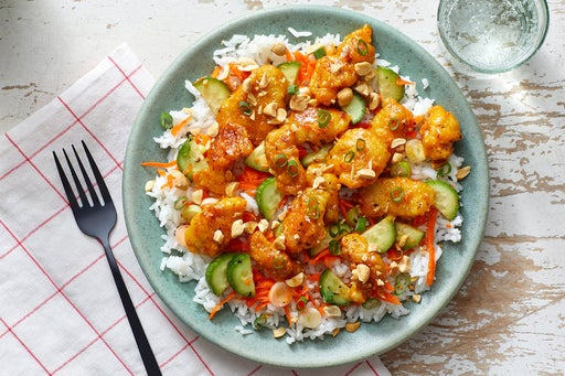 Curry-Peanut Chicken with White Rice & Marinated Vegetables