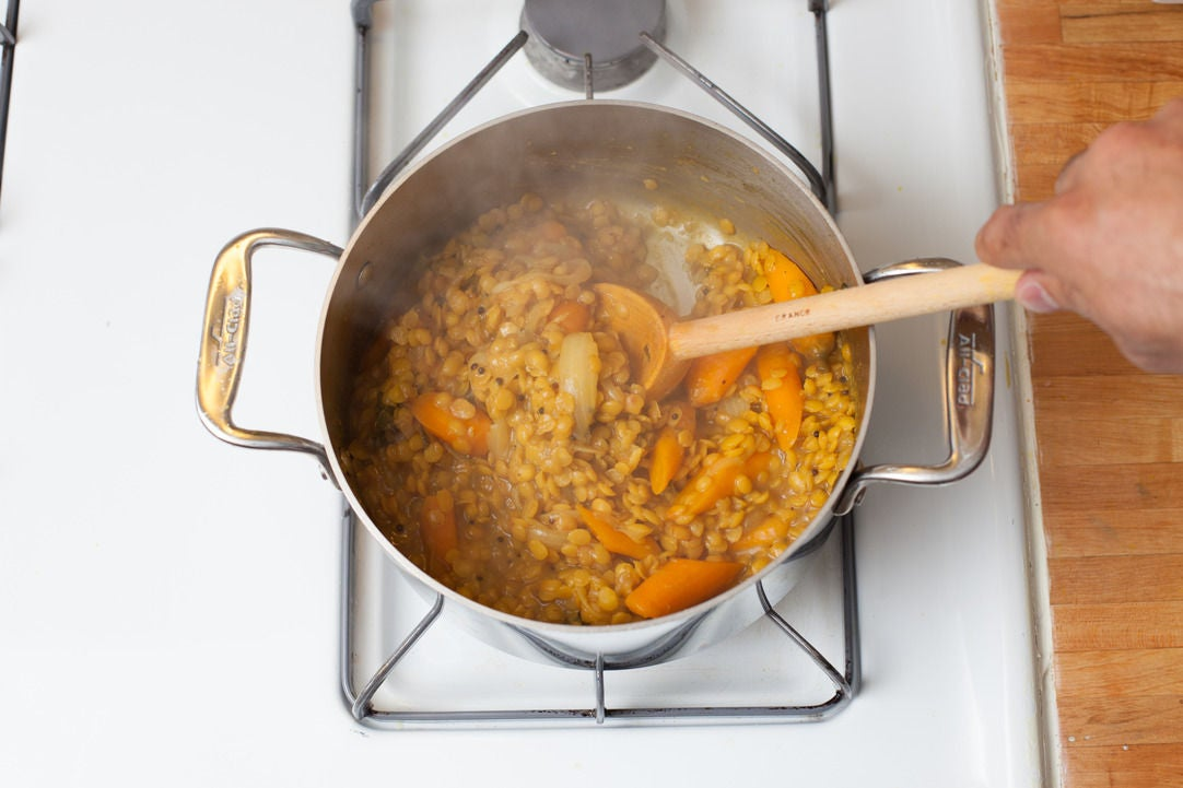 Finish cooking the lentils: