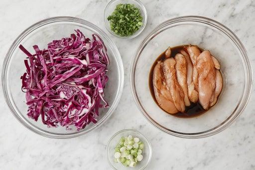 Marinate the chicken & prepare the ingredients: