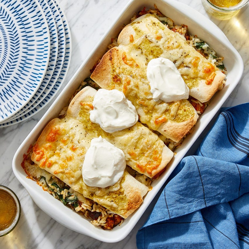 Cheesy Tomatillo Enchiladas with Butternut Squash, Spinach & White Rice