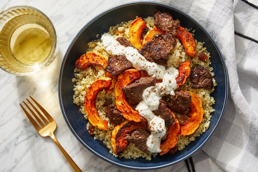 Spiced Beef & Salsa Verde Couscous with Harissa-Roasted Squash