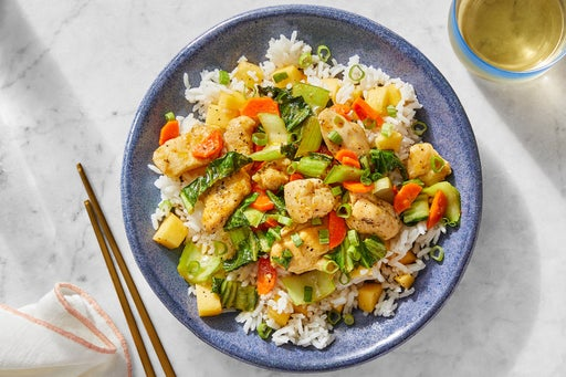 Spicy Chicken & Vegetable Stir-Fry with White Rice