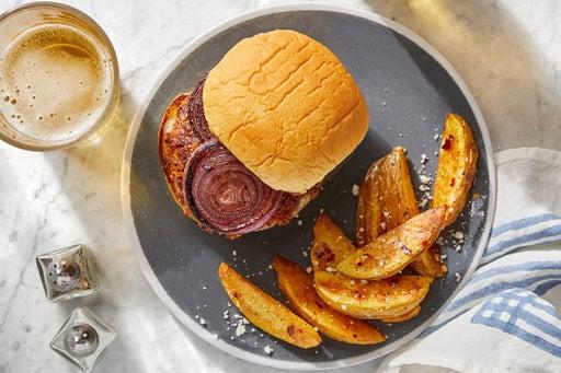 Fontina Pork Burgers with Charred Onion & Balsamic Mayo