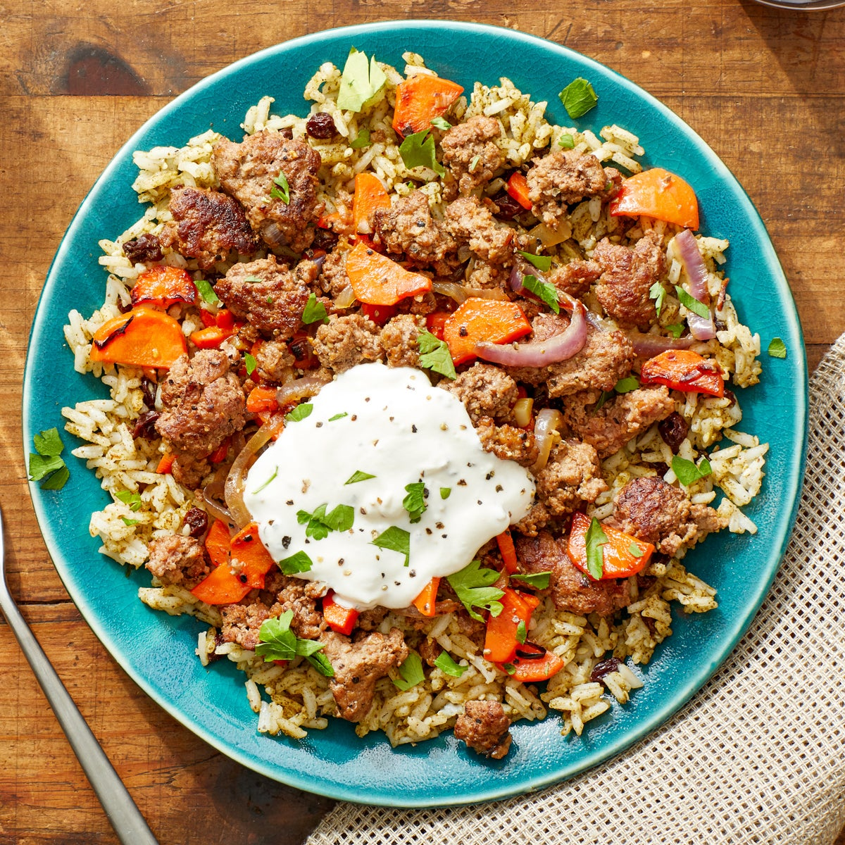 Beef over Za'atar-Spiced Rice with Lemon Labneh