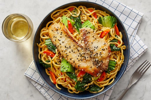 Miso Butter-Glazed Tilapia with Vegetable Lo Mein
