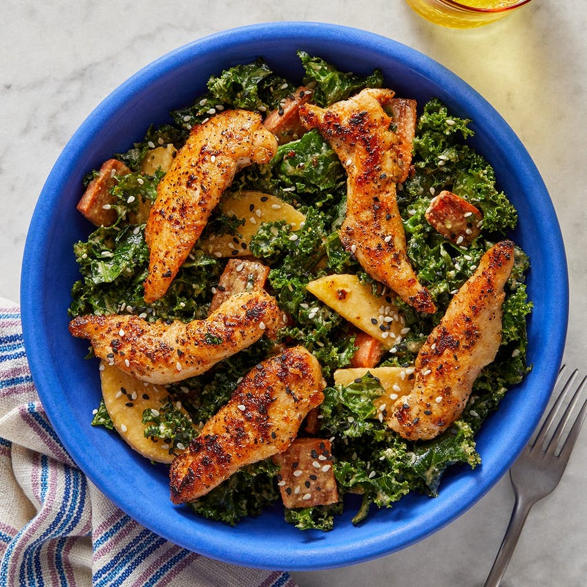 Seared Chicken & Kale Salad with Roasted Carrots & Sesame-Dijon Dressing