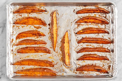 Bake the sweet potato wedges