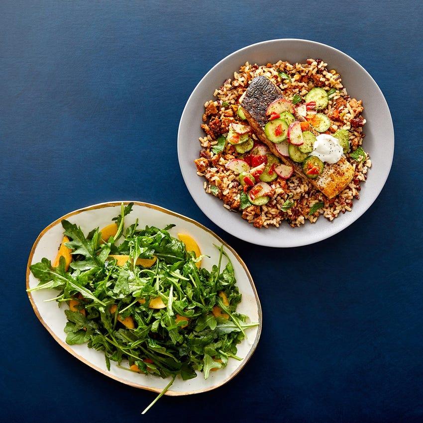Za'atar Salmon & Preserved Lemon Labneh with Jeweled Chorizo Rice & Persimmon Salad
