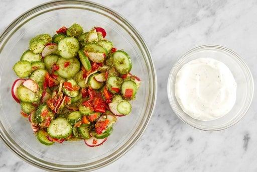 Marinate the vegetables & make the lemon yogurt