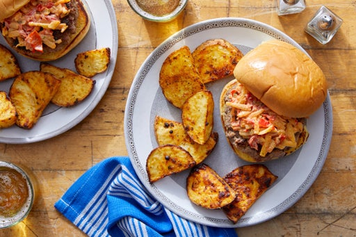 Pimento Cheeseburgers with Roasted Potatoes