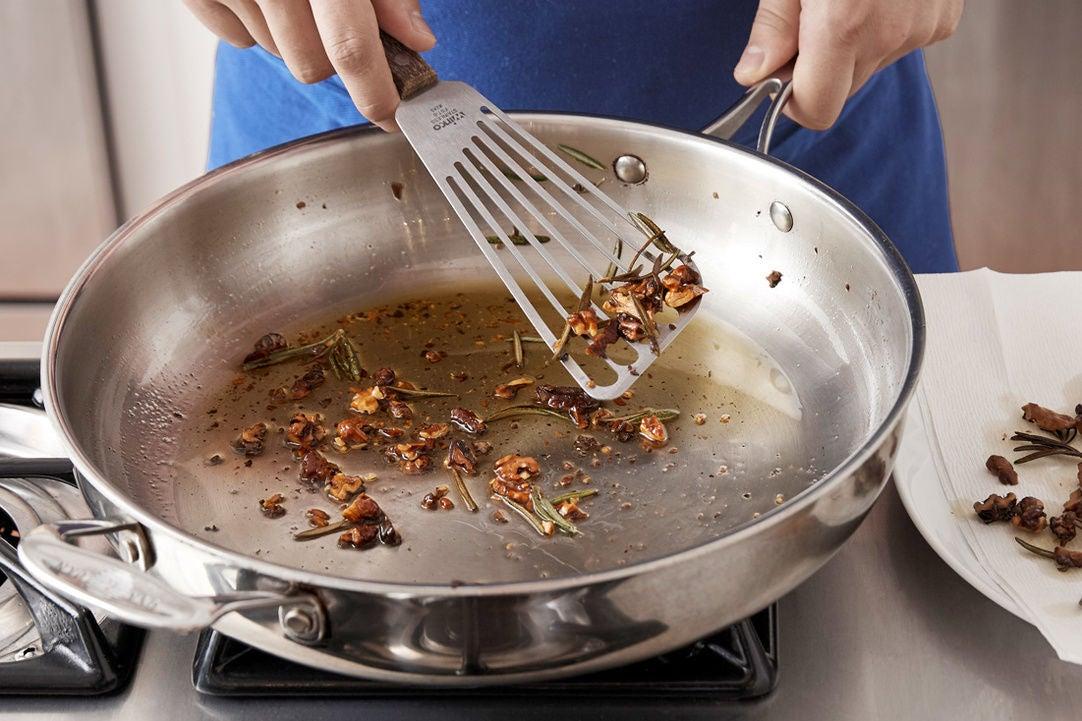 Fry the rosemary & walnuts:
