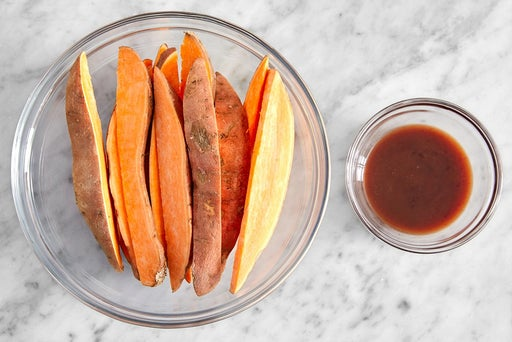 Prepare the sweet potatoes & make the glaze