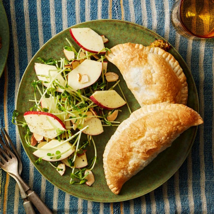 Broccoli & Cheddar Turnovers with Pea Green & Apple Salad