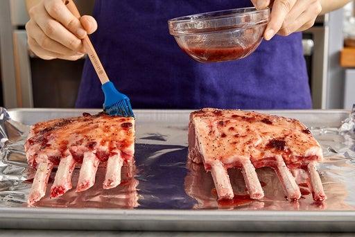 Make the glaze & roast the lamb