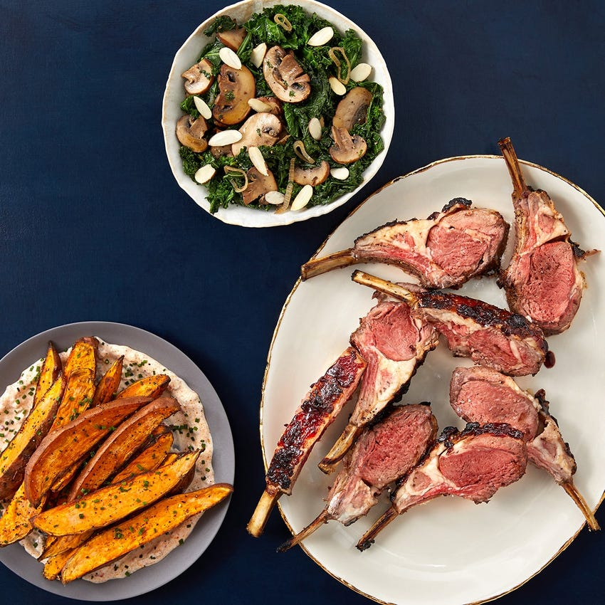 Sour Cherry-Glazed Lamb Chops with Roasted Sweet Potatoes & Calabrian Chile Yogurt