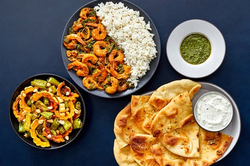 Indian Shrimp & Mustard Seed Rice with Roasted Vegetables & Toasted Garlic Naan