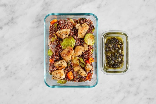 Assemble & Store the Oregano Chicken & Quinoa