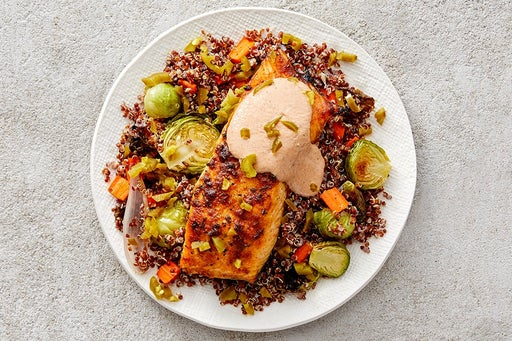 Finish & Serve the Roasted Salmon & Vegetables