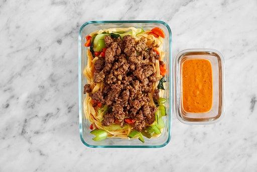 Assemble & Store the Beef & Veggie Wonton Noodles
