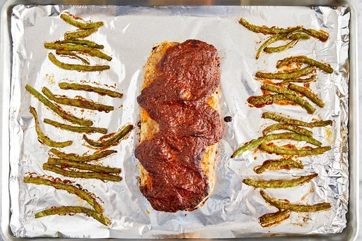 Bake the meatloaf & green beans