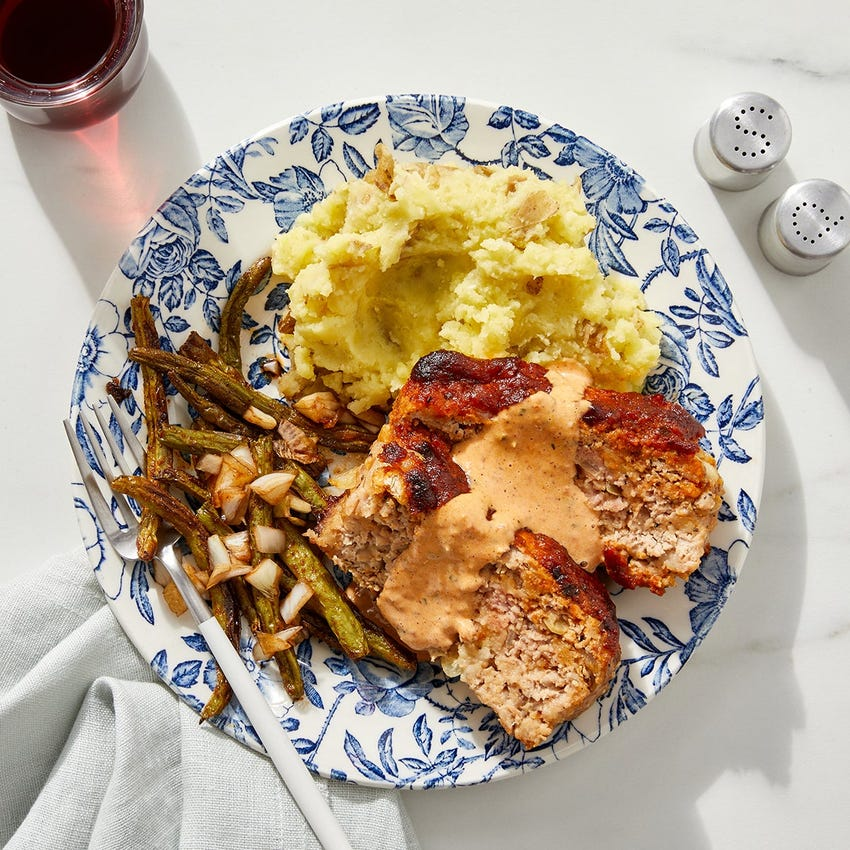 Romesco Turkey Meatloaf with Mashed Potatoes & Roasted Green Beans