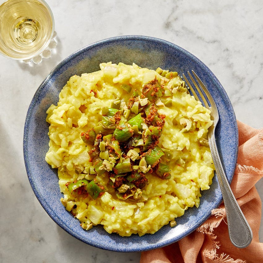 Fennel & Saffron Risotto with Shishito Peppers & Romesco Sauce