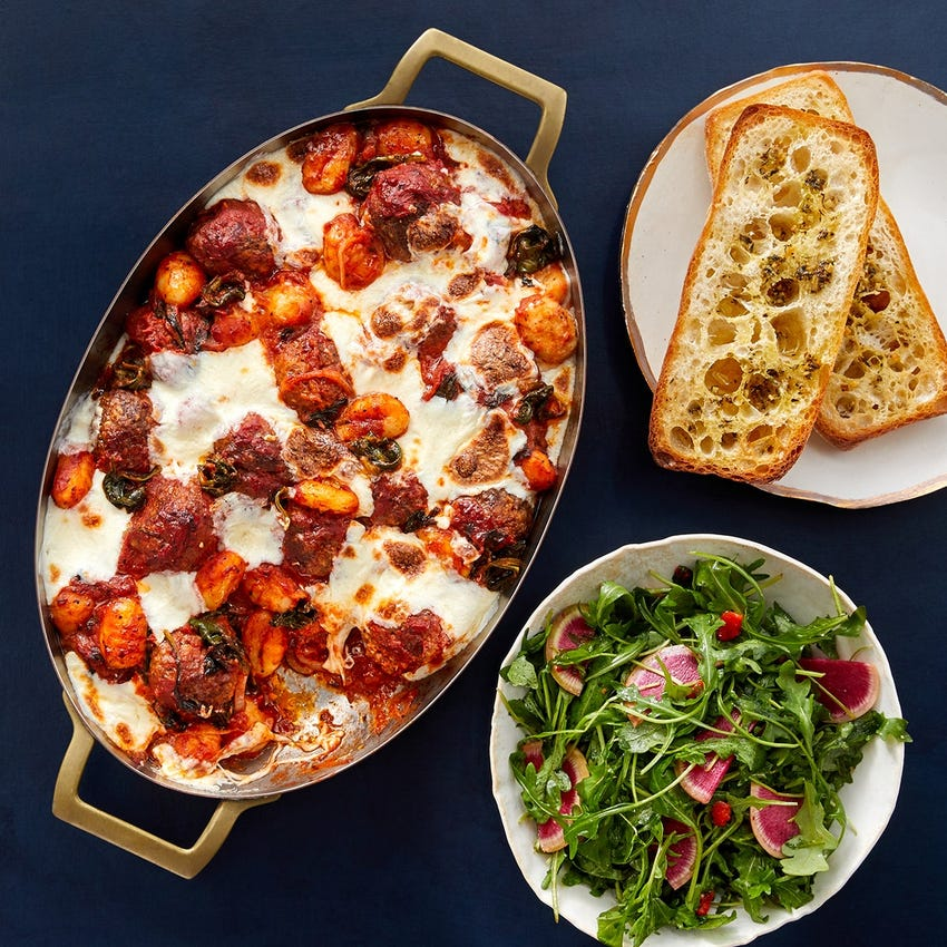 Cheesy Beef & Pork Sausage Meatball Bake with Gnocchi & Spinach