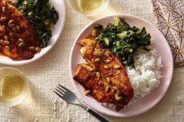 Tilapia & Brown Butter-Orange Pan Sauce with Garlic Rice & Collard Greens