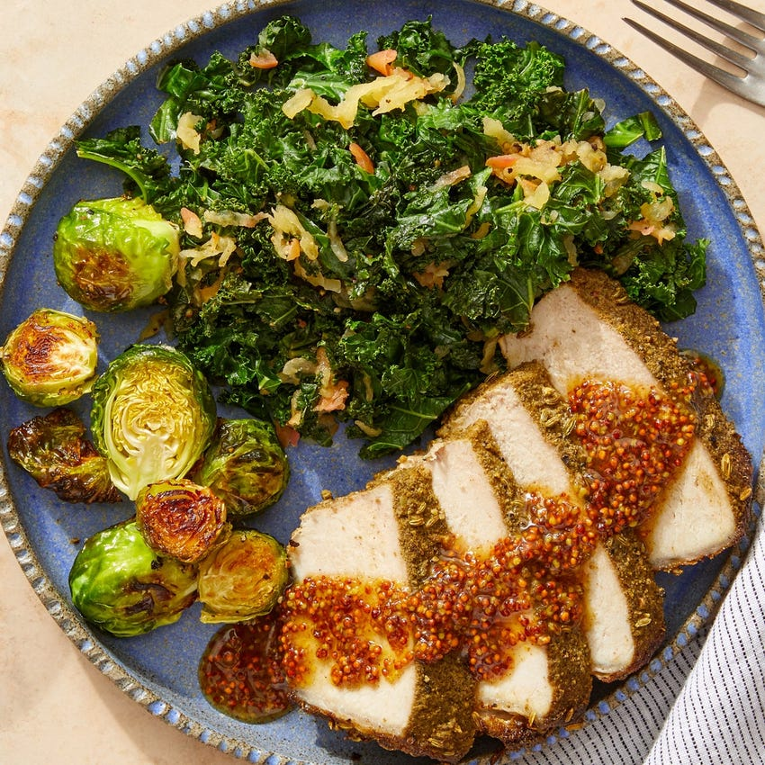 Maple-Mustard Pork Roast with Apple, Kale & Roasted Brussels Sprouts