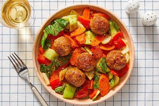 Orange-Glazed Turkey Meatballs with Carrots & Bok Choy
