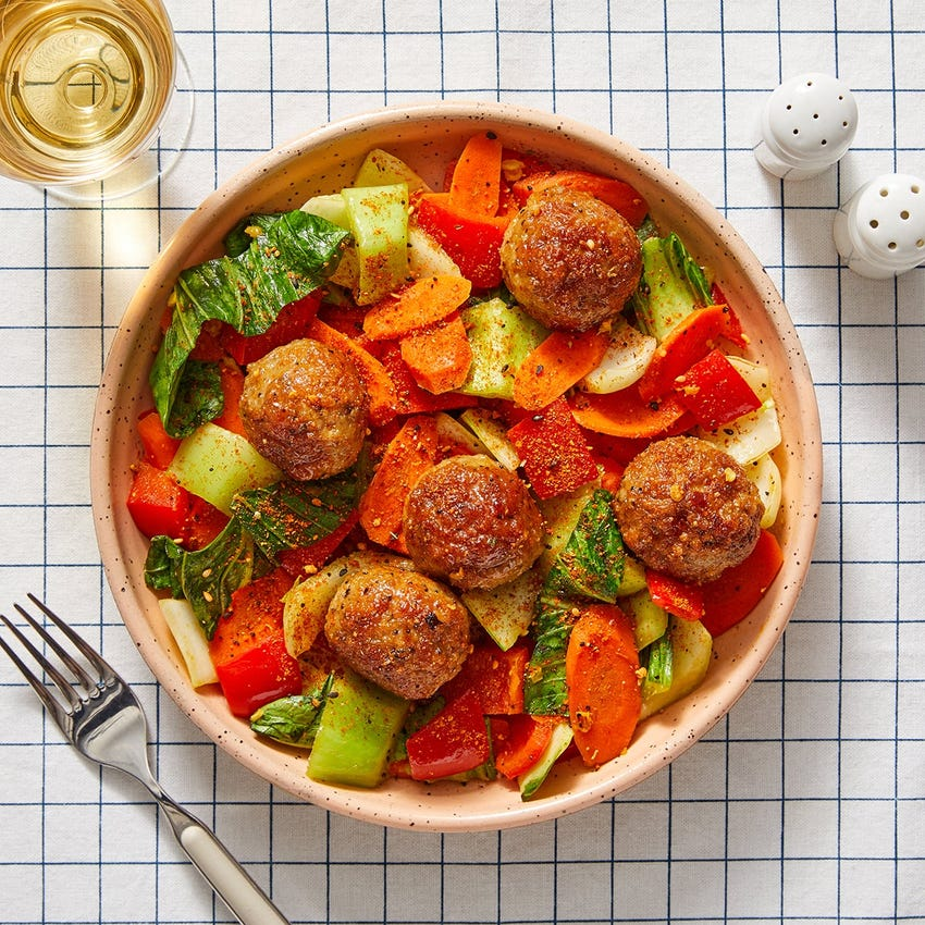 Orange-Glazed Turkey Meatballs with Carrots & Bok Choy