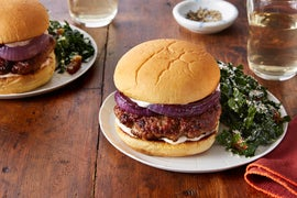 Chorizo-Spiced Pork Burgers with Kale & Date Salad