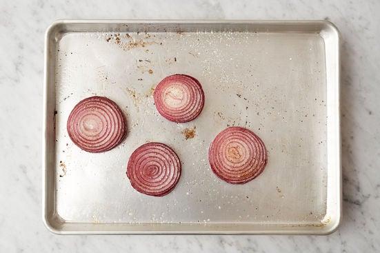 Prepare & roast the onion: