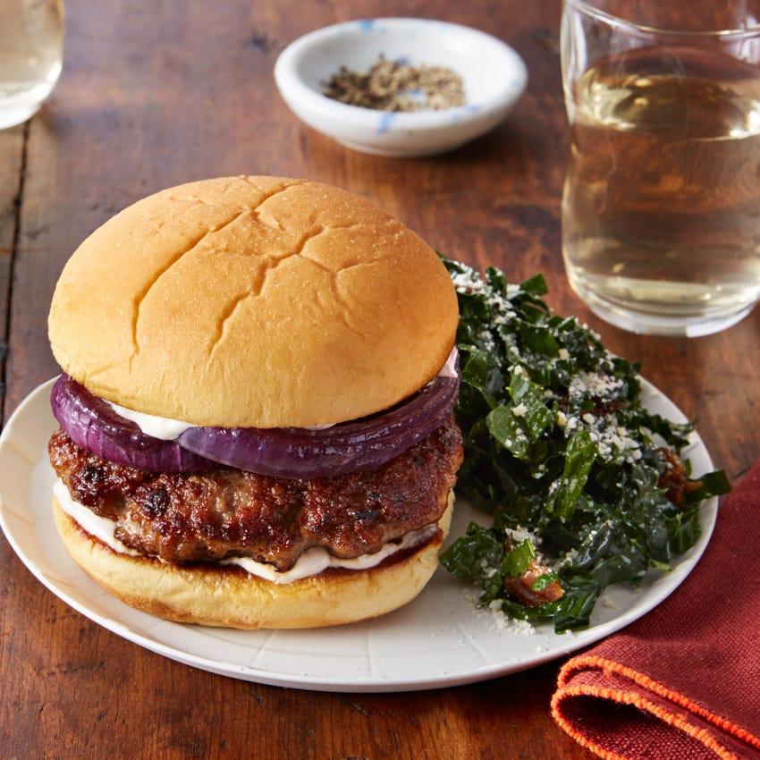 Chorizo-Spiced Pork Burgers with Kale & Date Salad