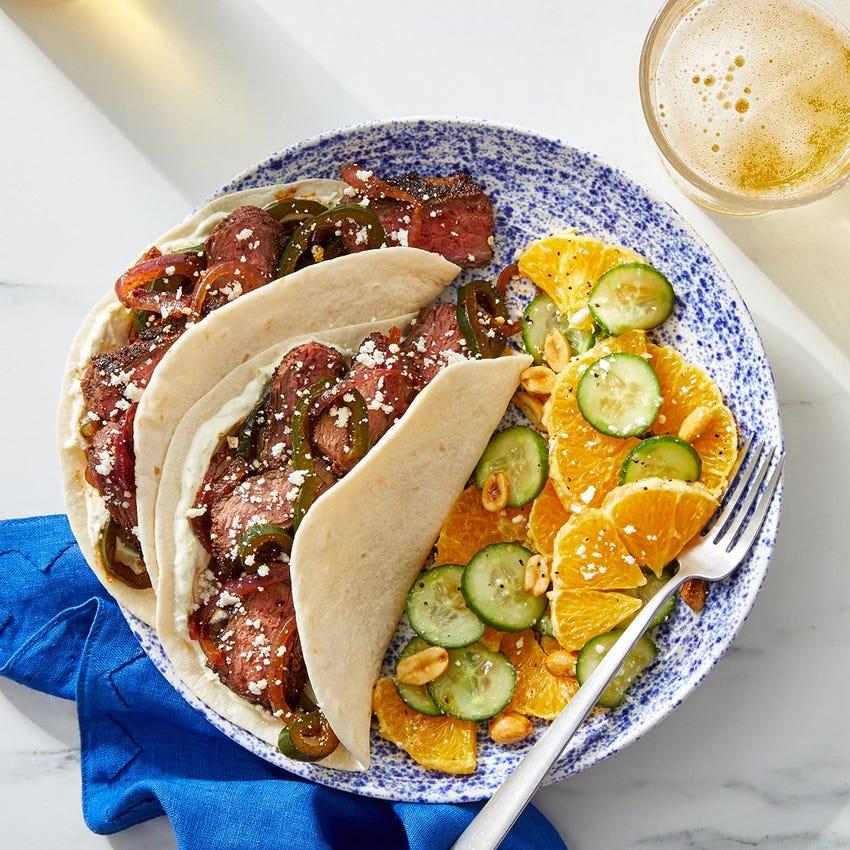 Chipotle Steak & Vegetable Tacos with Orange & Cucumber Salad