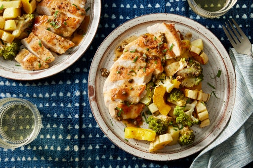 Seared Chicken & Roasted Fall Vegetables with Caper-Butter Sauce