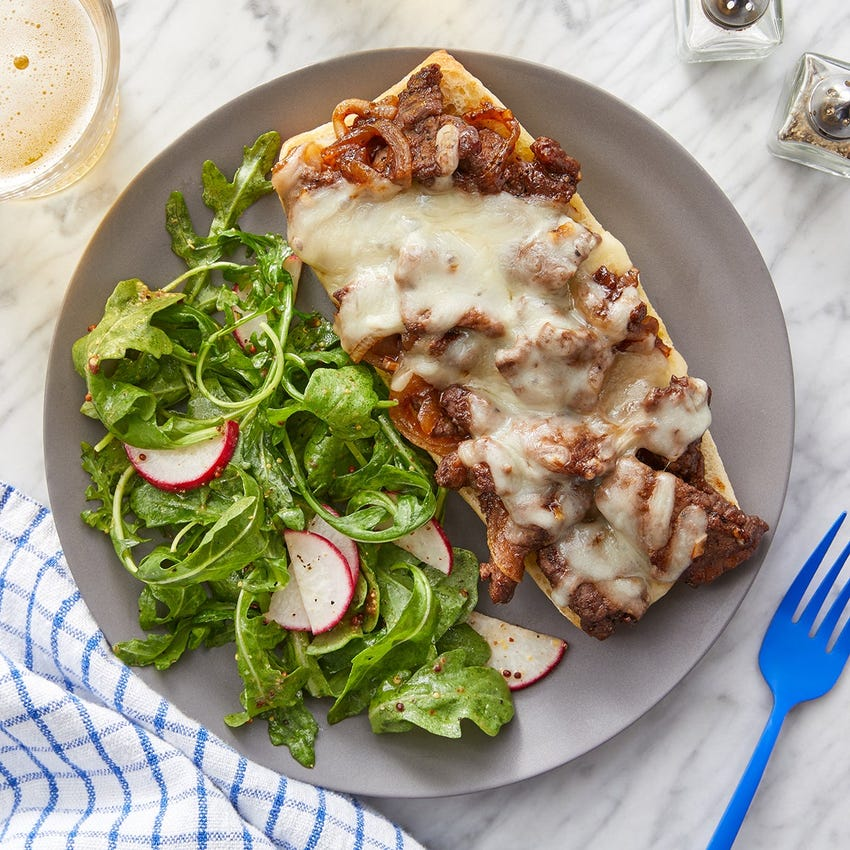 Balsamic Beef & Fontina Sandwiches with Sherry-Dijon Salad