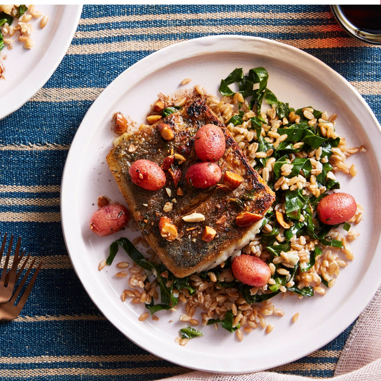 Barramundi & Brown Butter Sauce with Farro & Grapes
